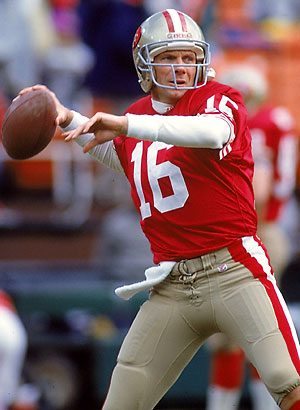 Joe Montana throwing football