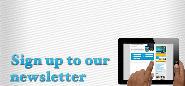 sign up, newsletter, patient using tablet