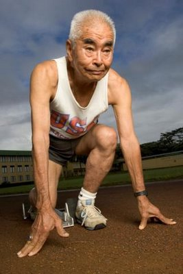 old man, on starting block at track