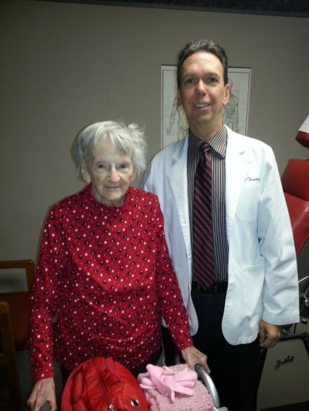 Elizabeth D., age 100, after receiving her chiropractic adjustment from Dr. Chaney